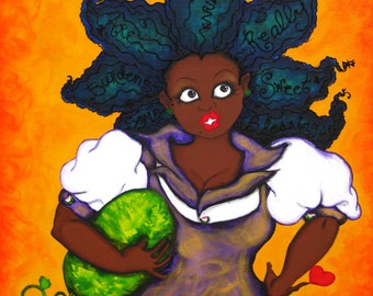 Prints:5x7 Sometimes Burdens Are Really Sweet Blessings! Affirmation Natural Hair by karin turner KarinsArt  watermelon  african american