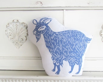 Goat Shaped Farm Animal Pillow. Goat Plushie. Hand Woodblock Printed. Choose Any Color. Made to Order.