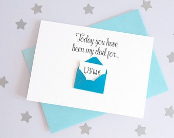 Days You've Been My Dad Mini Envelope Card – Personalised Father's Day Card – Card for Daddy – birthday card Daddy – Christmas card Daddy