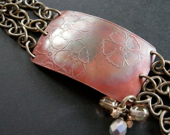 etched copper bracelet with brass chain, embellished copper bracelet, mixed metal bracelet