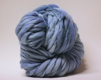 Handspun Thick and Thin Yarn Wool Slub  tts(tm) Superfine Merino Hand dyed Half-Pounder Bluebird 02 Super Bulky