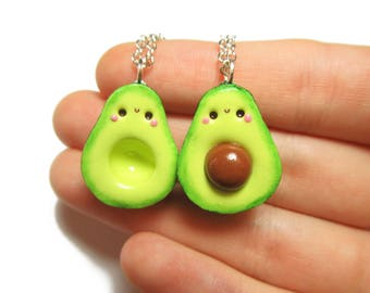 Kawaii Avocado Best Friend Necklace, Avocado BFF Necklace, Polymer Clay Charms, Best Friend Necklace For 2, Food Jewelry