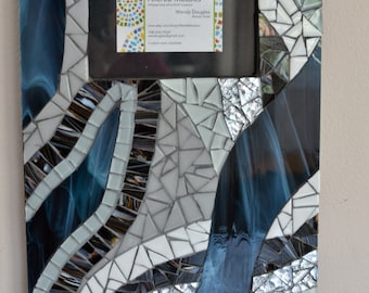 Black, White and Blue Mosaic Picture Frame