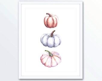 Pumpkins Art Print - Watercolor Pumpkin Art - Rustic Fall Wall Art - Fall decor - Thanksgiving Decor
