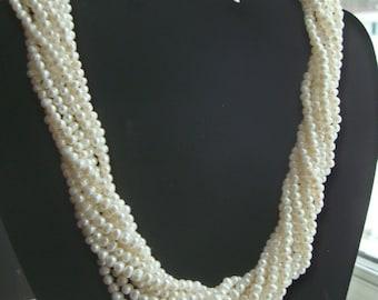 Vintage 14K GSI 10 Strand Pearl Torsade Necklace 3-4mm Baroque Bridal Statement