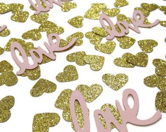 Blush Pink Glitter Gold  Confetti, Paper Heart Confetti , Love Die Cuts, Love confetti, Wedding Confetti,  Table Scatter, Valentine day
