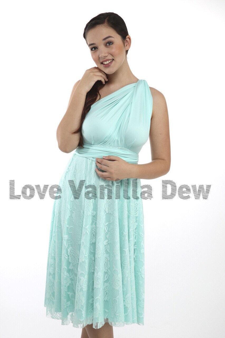 Bridesmaid Dress Infinity Dress Petal Green Lace Knee Length