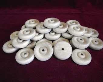36  Hardwood Wheels  1-3/4 inch diameter with 1/4 hole  unfinished