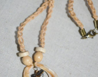 Necklace Shark Tooth Necklace on Braided Cord, Shark Tooth Necklace, Shell Necklace, Beach Junk Jewelry, Shell & Shark Tooth On Braided Cord