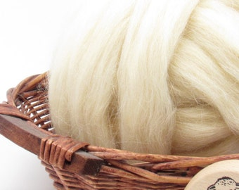 Lincoln Wool Top Roving - Undyed Natural Spinning & Felting Fiber / 1oz