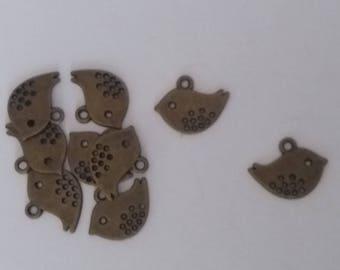 Set of 5 charms bird bronze 1.7 x 1.2 cm