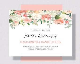 Save the Date Card Peach and Cream Floral Watercolor | Wedding Save the Date Peach Floral | Printable or Printed Spring Summer Save the Date