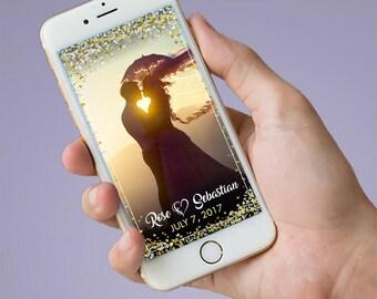 White Heart Wedding Snapchat Geofilter, Snapchat Geofilter Wedding, Heart Confetti Elegant Filter, Elegant Custom Wedding Snapchat Geofilter