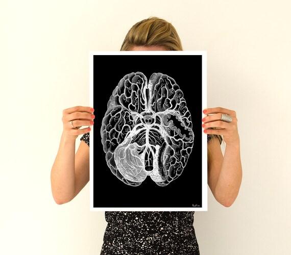 Human brain, black poster Anatomy Art - Anatomical art prints, gifts for him , digital art , wall art wall art, SKA125WA3