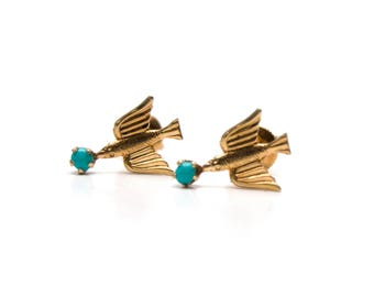 10k Victorian Turquoise Swallow Earrings