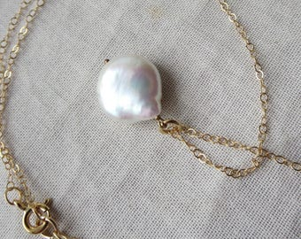 Lustrous White Coin Pearl on Fine Gauge 14k  Gold Filled Chain