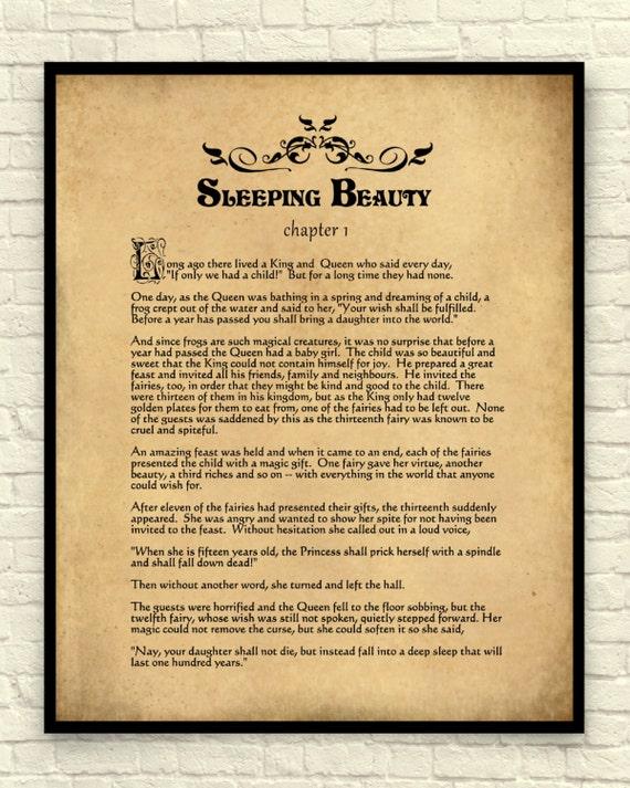 Sleeping Beauty Art Print Sleeping Beauty Wall Art Book Page