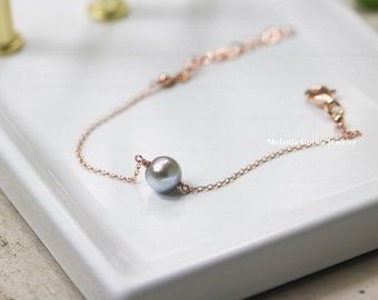 GREY PEARL Bracelet - 925 sterling silver electroplated with 18K rose gold bracelet with freshwater pearl, grey pearl, natural pearl