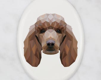A ceramic tombstone plaque with a Poodle dog. Art-Dog geometric dog