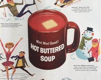 Unique Campbell's Soup ad from 1957, great vintage wintertime graphics.