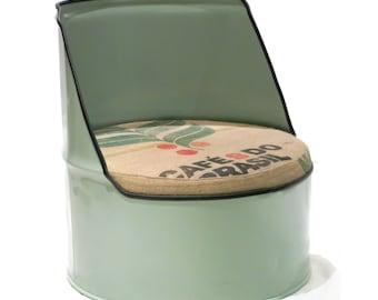 Duck Egg Green Reclaimed Oil Drum Chair Seat - Short