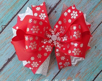Snowflake hair bow, snowflake baby hair bow, Snowflake headband, Winter hair bow, Christmas dress hair bow, Christmas hair bow