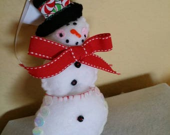 Peppermint Snowman Ornament