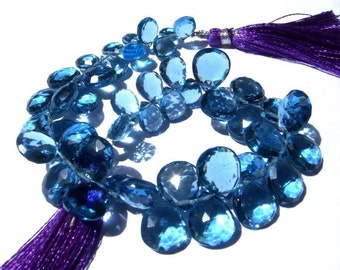 1/2 Strand - AAA London Blue Quartz Faceted Pear Briolettes Size - 10x7 - 12x10mm approx