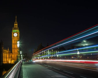 London Photography -- Big Ben and Light Trails London Art, London Print, London Skyline