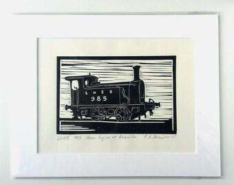 LNER 985 Dampflokomotive - original Linoldruck