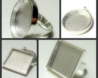 Mix 25mm round/square Pewter blank tray pendant/ Ring Blank