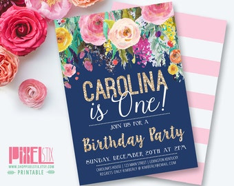 Floral Girls Birthday Party Invitation, First Birthday Party, Navy Blue and Pink, Gold Glitter Invite, Watercolor Flowers, Kids Birthday