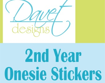 12 Second Year -13 months thru 24 months Baby Monthly Glossy Waterproof Stickers