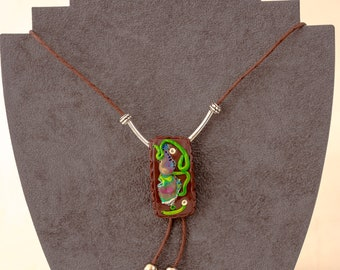 """Polymer clay brown pendant """"Dream"""""""