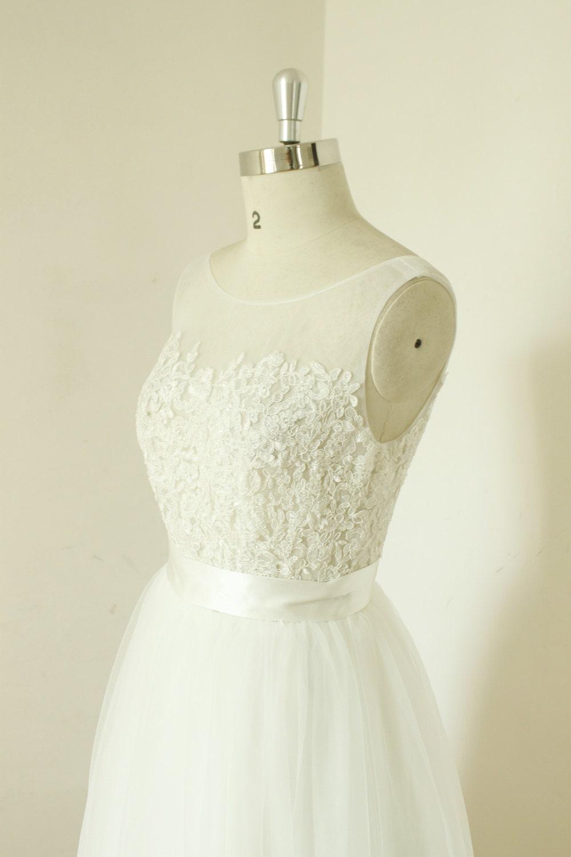 A-Linie schiere Elfenbein Hochzeitskleid Spitze Tüll