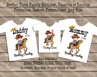 Cowboy Horse Birthday Family Set Digital Printables for iron-ons, heat transfer, Scrapbooking, Cards, Tags, Invitations, DIY YOU PRINT