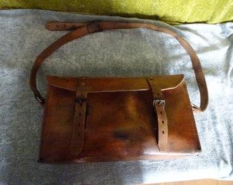 Antique mens hard leather mining bag/satchel