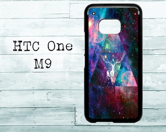 Universe Triangle white deer Hipster - black HTC One M8/M9/M10 case - Amazing Cosmos Nebula phone HTC One case, HTC cover, beautiful gift