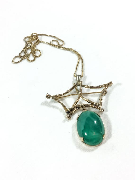 Sterling Silver Vermeil Jade Pendant Necklace, Peking Glass & Bamboo Motif, Chinese Asian Style, Gold Box Chain, Vintage Fashion Jewelry