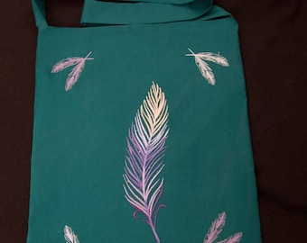 Tote bag  Delicate feathers Everyday magic  Embroidered bag Cotton bag Boho bag Boho