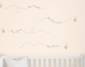 Bee Wall Decals, Childrens Wall Decals, Girls Bedroom Wall Decals, Baby Boy Decals, Kids Wall Stickers, Bee Philosophies Wall Decals