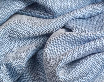 Sky Blue Herringbone Handmade Cotton Throw 142 x 180 cm