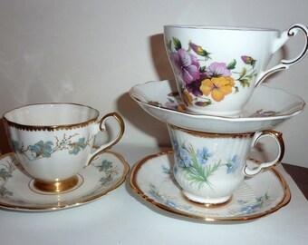 vintage bone china tea cups and saucers set of 3