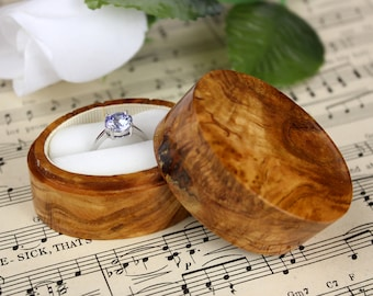 Wood and Velvet  Oval Burl Ring Box