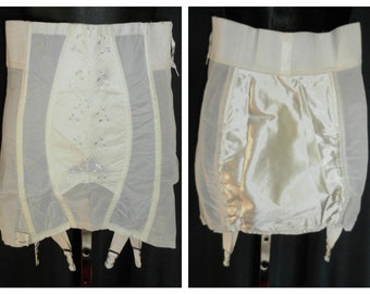 AWESOME!!  Dead Stock Vintage 1950's Open Bottom / Satin Fanny / Satin Stitched Embroidery / Power Girdle w/ Garters - Small 29