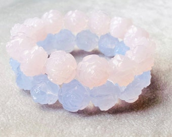 Rare Vintage Lucite carved pastel rose blue beaded bracelet, stackable bracelets, delicate bracelets, Mother's day gift, gifts for mom