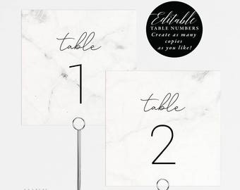Modern Marble Wedding Table Numbers Printable, Table Number Template, Folded Tent Card,Flat Card,Editable Table Number PDF Template #E038