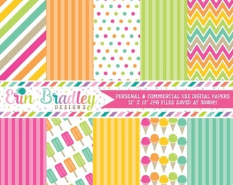80% OFF SALE Ice Cream Party Digital Paper Pack Commercial Use Instant Download