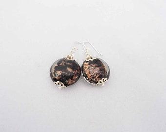 Handmade Earrings, Lampwork Earrings, Glass Earrings, Earrings in Black and Gold