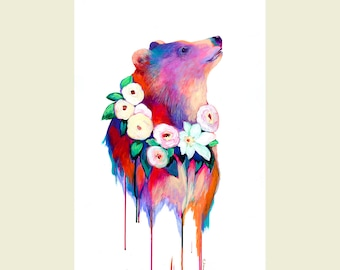 Bear and Flowers ORIGINAL Painting on 16x24 Yupo paper by JENLO